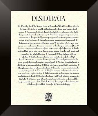 Poster Wall Art - Mixed Media - Black Border Sunburst Desiderata Poem by Desiderata Gallery