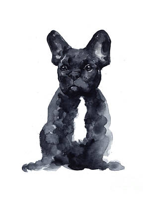 Dog Wall Art - Painting - Black French Bulldog Watercolor Poster by Joanna Szmerdt