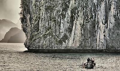 Photograph - Black Giant Limestone Boat Vietnam  by Chuck Kuhn