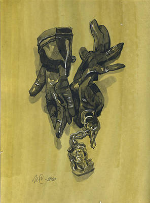 Still Life Drawings - Black Gloves and Bibelot. Paradox Still Life by Igor Sakurov