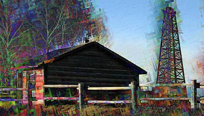 Log Cabin Art Digital Art - Black Gold In The Old West by Rayanda Arts