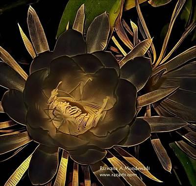 Balck Art Mixed Media - Black Golden Brahma Kamal by Rizwana Mundewadi