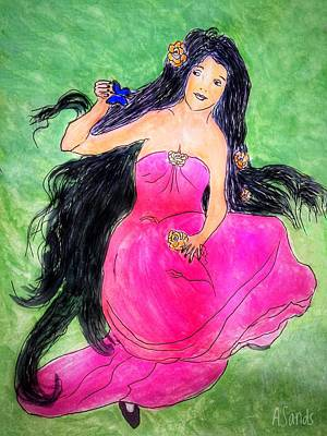 Painting - Black Haired Beauty by Anne Sands