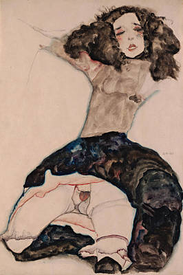 Top With Oil Painting - Black-haired Girl With Lifted Skirt 1911 by Egon Schiele