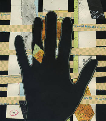 Mixed Media - Black Hand Collage by Christina Knapp