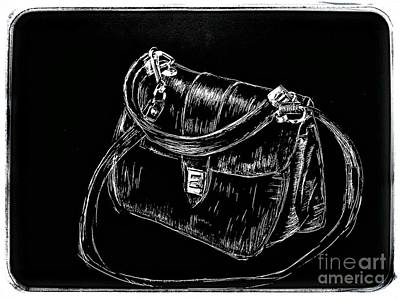 Drawing - Black Handbag 1966 by Joan-Violet Stretch