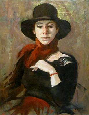 Painting - Black Hat And Red Scarf by Robert Holden