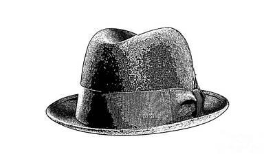 Drawing - Black Hat T-shirt by Edward Fielding