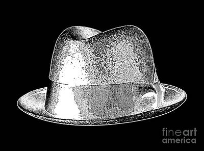 Drawing - Black Hat T-shirt White by Edward Fielding