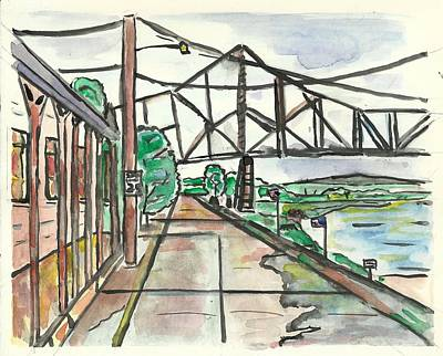 Painting - Black Hawk Bridge by Matt Gaudian