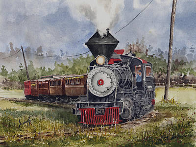 Railroad Tracks Painting - Black Hills Central Number 7 by Sam Sidders