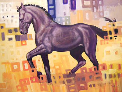 Animals Painting - Black Horse by Farhan Abouassali