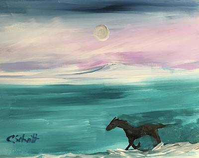Black Horse Follows The Moon Art Print