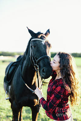 Photograph - Black Horse Kissed By A Young Woman. by Michal Bednarek