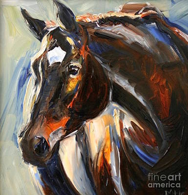Thoroughbred Painting - Black Horse Oil Painting by Maria's Watercolor