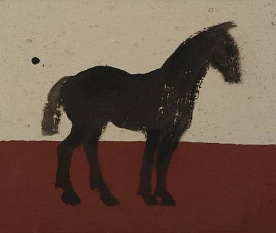 Driving Horses Painting - Black Horse by Sophy White