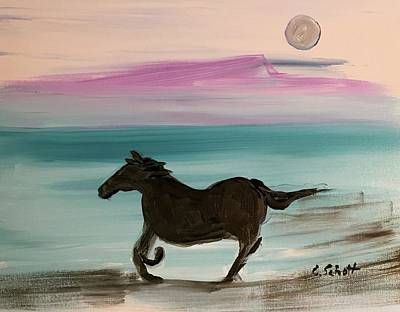 Black Horse With Moon Art Print