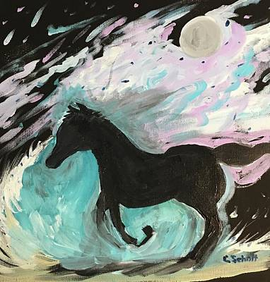 Black Horse With Wave Art Print