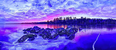 Digitally Manipulated Photograph - Black Ice At Twilight by ABeautifulSky Photography by Bill Caldwell