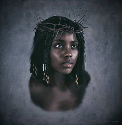 Ecce Homo Digital Art - Black Jesus Portrait V by Ramon Martinez