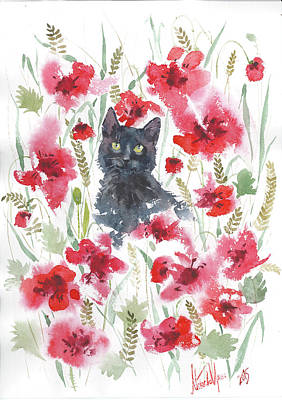 Italian White Poppy Painting - Black Kitten In The Poppy Field by Iri M
