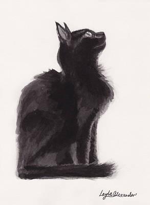 Layla Painting - Black Kitten by Layla Alexander