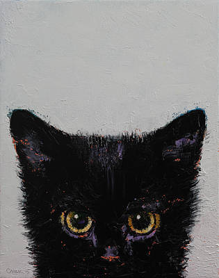 Trippy Painting - Black Kitten by Michael Creese