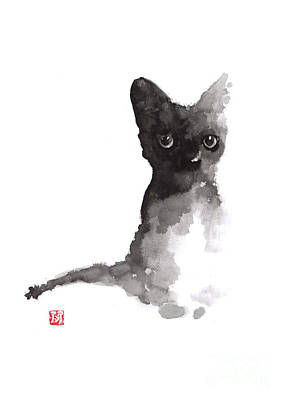 Kitty Mixed Media - Black Kitty Minimalist Painting For Sale by Joanna Szmerdt