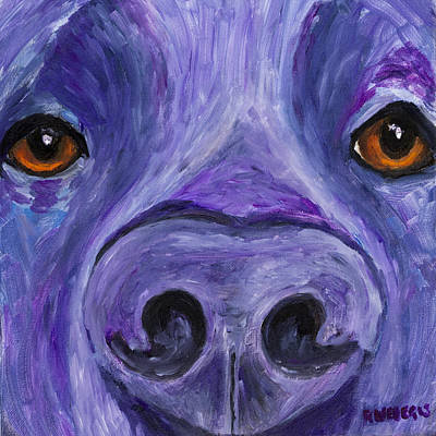 Pet Painting - Black Lab Face by Roger Wedegis