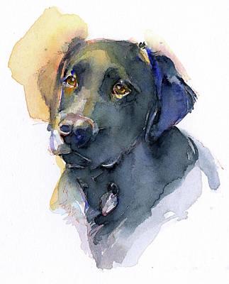 Watercolor Pet Portraits Painting - Black Lab by John Keeling
