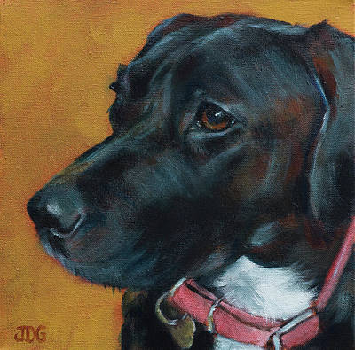 Mixed Labrador Retriever Painting - Black Lab Mix by Julie Dalton Gourgues