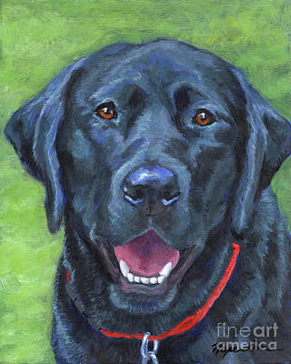 Painting - Black Lab On Grass by Hope Lane