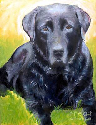Painting - Black Lab Pet Portrait by Kristen Abrahamson