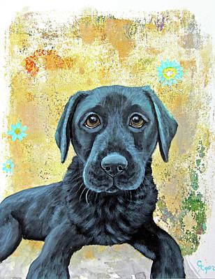 Wall Art - Painting - Black Lab Puppy Love by Carol Iyer