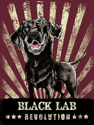 Black Lab Drawing - Black Lab Revolution by John LaFree