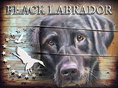 Wood Duck Mixed Media - Black Labrador by Danielle Rosalie Pellicci