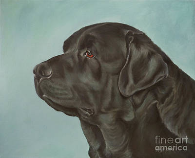 Lab Painting - Black Labrador Dog Profile Painting by Amy Reges