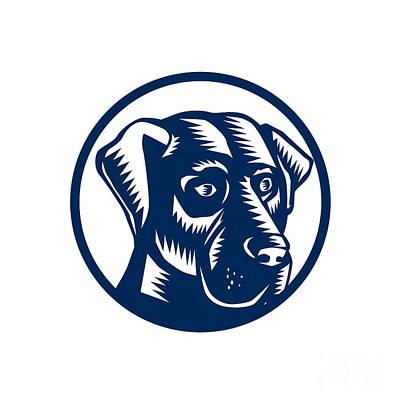 Labrador Retriever Digital Art - Black Labrador Head Circle Woodcut by Aloysius Patrimonio