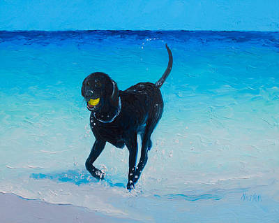 Dogs On Beach Painting - Black Labrador Painting by Jan Matson