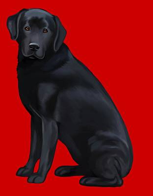 Retrievers Digital Art - Black Labrador Retriever by A