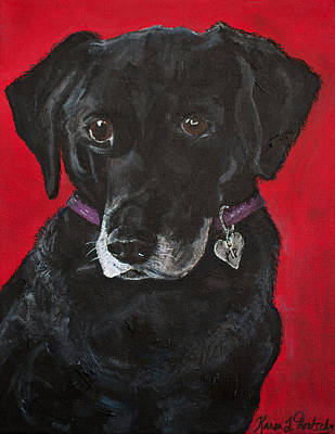 Mixed Labrador Retriever Painting - Miss Priss The Black Labrador Retriever Mix by Karen Dortschy