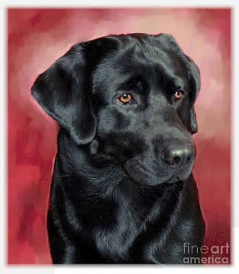 Pups Digital Art - Black Labrador Retriever by Maxine Bochnia