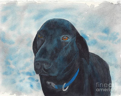 Painting - Black Labrador Retriever With Copper Eyes by Conni Schaftenaar