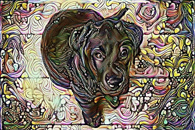 Labs Digital Art - Black Labrador Retriever Pup by Peggy Collins