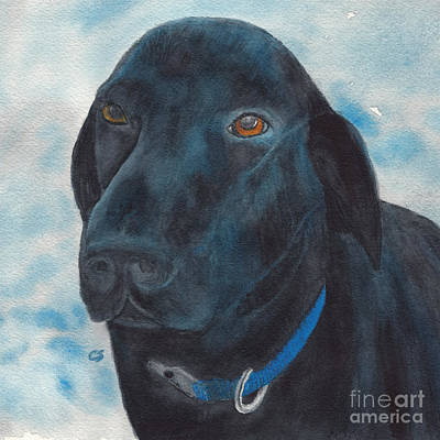 Painting - Black Labrador With Copper Eyes Portrait II by Conni Schaftenaar