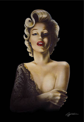Movie Star Classic Movie Painting - Black Lace by Lucy West
