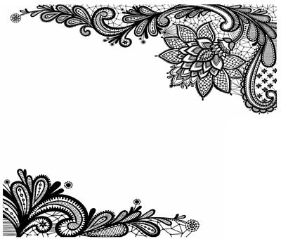 Digital Art - Black Lace Print On White by Marianna Mills