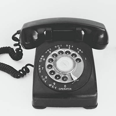 Black And White Art Mixed Media - Black Landline Phone- Art By Linda Woods by Linda Woods