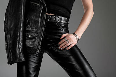 Young Woman Photograph - Black Leather Pants And Jacket by GoodMood Art