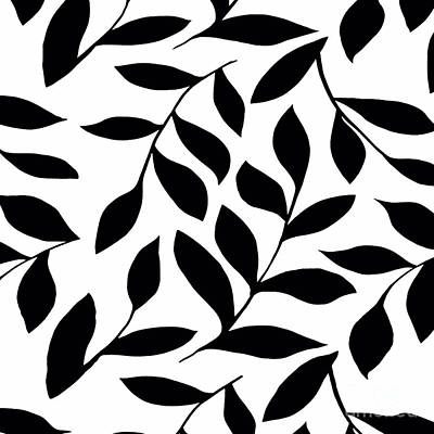Painting - Black Leaves On White Design Pattern by Saundra Myles